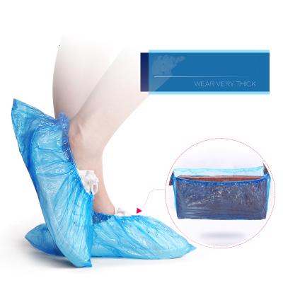秀净 一次性加厚蓝色鞋套脚套居家用布塑料学生室内100只装地拖擦地拖鞋鞋套国产