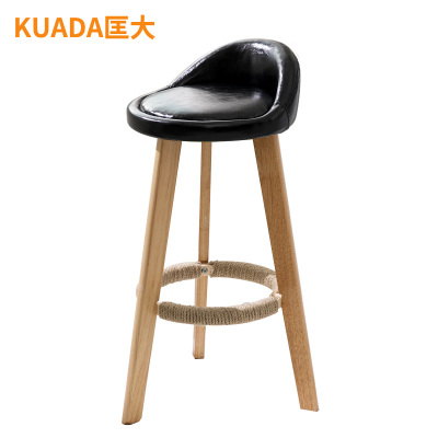 匡大 酒吧椅油皮面實木椅 高腳蹬休閑吧椅吧臺椅KDKR-001