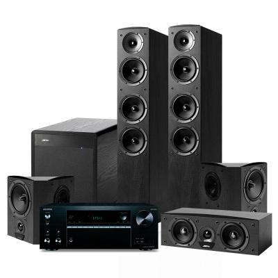 JAMO/尊宝 C607+C60CEN+C60SUR+SUB260+TX-NR575功放家庭影院音响5.1音箱套装 黑色