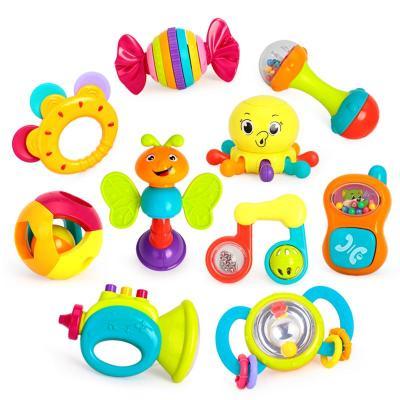 匯樂玩具(HUILE TOYS)寶寶搖鈴牙膠939 嬰幼新生兒手抓鈴兒童塑料玩具 3個月以上48×9×37cm 10只裝