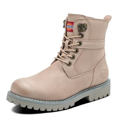 Dickies女鞋冬季新款馬丁靴女英倫風高幫百搭真皮女中筒皮靴子潮194W50LXS4F