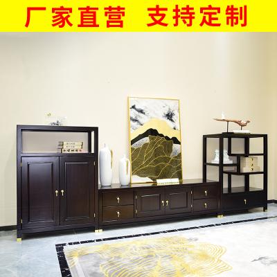 邁菲詩新中式實木電視柜組合別墅會所仿古典組裝地柜原木禪意電視柜