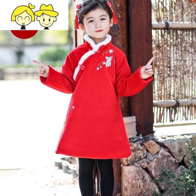 儿童旗袍冬装加厚棉服女童红色女宝宝拜年服新年装加绒童装连衣裙  绿彩虹光