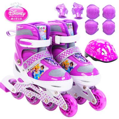 DISNEY/迪士尼紫色 公主 溜冰鞋儿童闪光轮滑鞋套装可调旱冰鞋送轮滑包