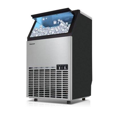 沃拓萊55kg商用制冰機奶茶店KTV酒店燒烤店方冰塊大型制冰機自來水自動進水快速造冰機