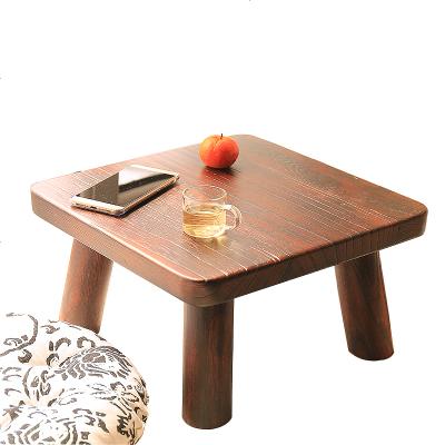 枳記家 燒桐木小方桌地臺矮桌迷你榻榻米小茶幾日式炕桌實木飄窗桌