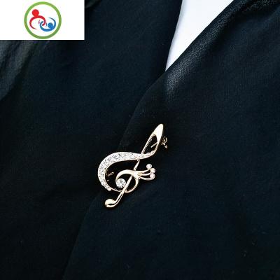 韓國金屬西裝徽章裝飾別針飾品高檔樂符水鉆胸針定制男士音符配飾 JING PING