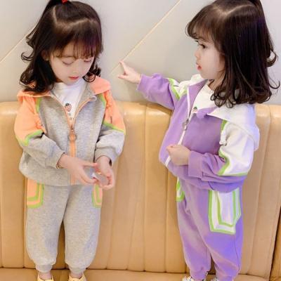 女童套裝春款2020春季新款兒童連帽運動套裝女寶寶休閑兩件套潮威珺