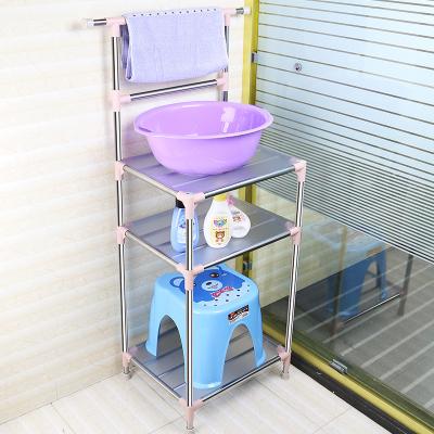 多層盆架子不銹鋼臉盆架衛生間置物架放洗臉盆架落地式浴室收納架