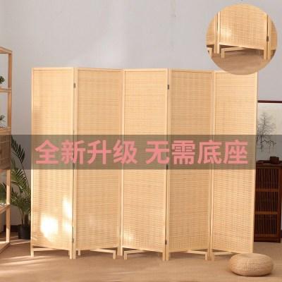 新中式实木竹帘屏风简易折叠移动折屏客厅酒店办公室房间玄关隔断
