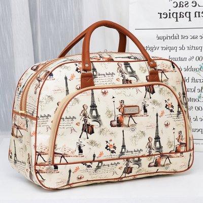 大容量puf旅行包女手提版短途卡通可愛學生小行李包女防水旅游包