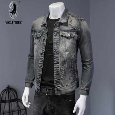 WOLF TREK男裝 潮男氣質復古破洞牛仔衣男裝外套2020新款春秋修身彈力夾克