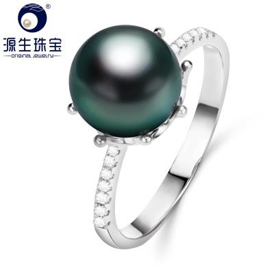 源生珠寶 大溪地黑珍珠戒指女款925銀海水珍珠戒指時尚圓形請備注戒指號數