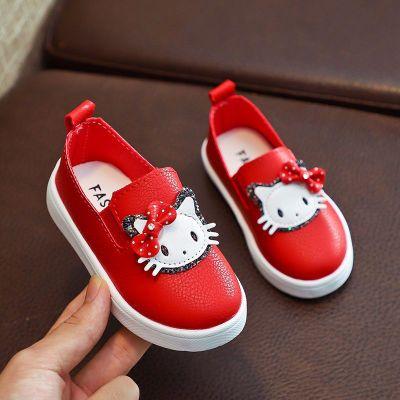 女童鞋子公主鞋春秋新款兒童豆豆鞋皮鞋寶寶鞋軟底套腳小女孩單鞋 纖婗(QIANNI)