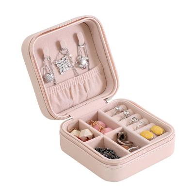 PU单层简约收纳首饰盒 创意便携饰品收纳盒 耳钉耳环戒指小首饰盒 裸粉色