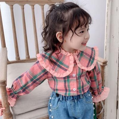 佐歐雅2020秋裝新款女童寶寶喇叭袖長袖上衣中小童翻領洋氣公主格子襯衫