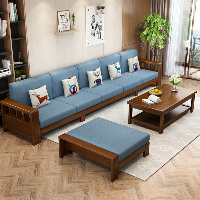 景山百岁 沙发 实木沙发组合 L型沙发 转角沙发 1+2+3沙发组合 现代中式实木沙发 客厅经济型沙发 家具 01A