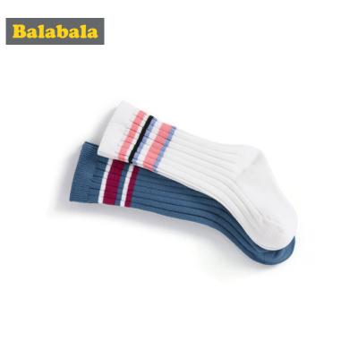 巴拉巴拉兒童襪子男女童春季透氣中筒襪棉卡通彈力透氣長襪兩雙裝