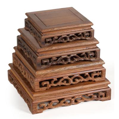 鸡翅木底座奇石托架 红木雕刻工艺品摆件 实木质花瓶石头花盆底座