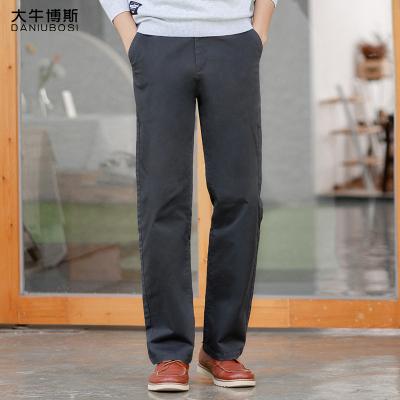 大牛博斯冬季弹力宽松休闲裤男直筒高腰商务男士长裤子