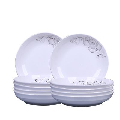瓷物语10个盘子陶瓷家用菜盘饭盘8英寸汤盘餐盘创意盘可微波餐具
