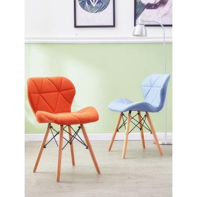 尋木匠北歐實木餐椅家用電腦椅簡約現代蝴蝶椅化妝椅靠背凳子布藝書桌椅