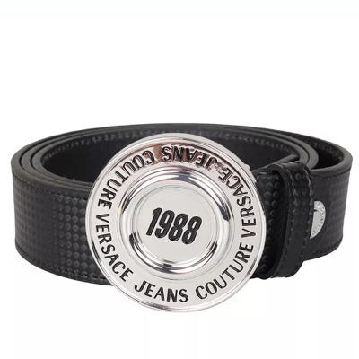 VERSACE JEANS COUTUR 范思哲 新款男士黑色系皮革圆头徽标板扣腰带 其他
