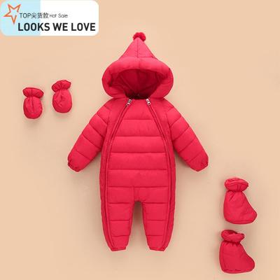 婴儿连体衣秋冬季加厚外出抱衣连脚萌儿宝宝冬装外穿羽绒棉服