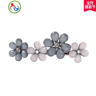 韓式發夾簡約風花朵一字夾頂夾氣質成年女發卡彈簧夾后腦勺側邊卡 JING PING