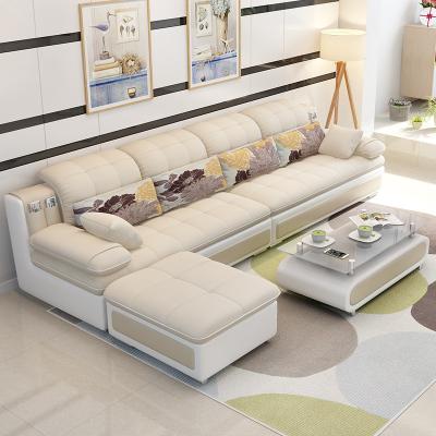 歐梵森 沙發組合小戶型實木簡約現代轉角北歐布藝沙發U型沙發組合可拆洗日式海綿/乳膠簡約客廳家具整裝組合OS107