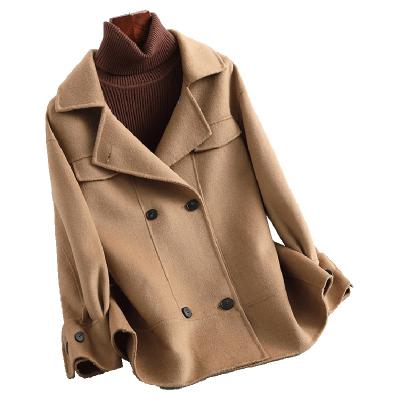 蘭奧女式時尚直筒西裝領雙排扣雙面呢羊毛毛呢大衣