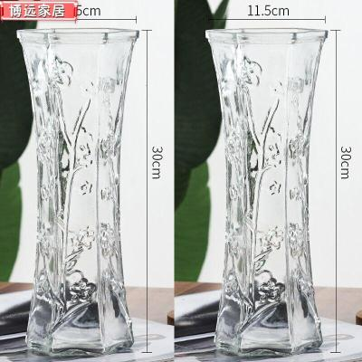 創意大號透明六角玻璃花瓶水養富貴竹百合鮮花插花瓶家用客廳擺件 30六角【梅花款2個裝】