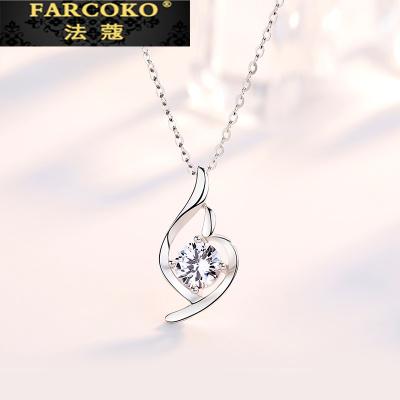 法蔻珠寶輕奢品牌999銀項鏈女士ins簡約小眾設計感鎖骨鏈足銀吊墜情人節生日送女友