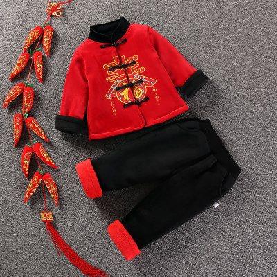 男女寶寶抓周服禮服冬中國風嬰兒童喜慶拜年服新年唐裝