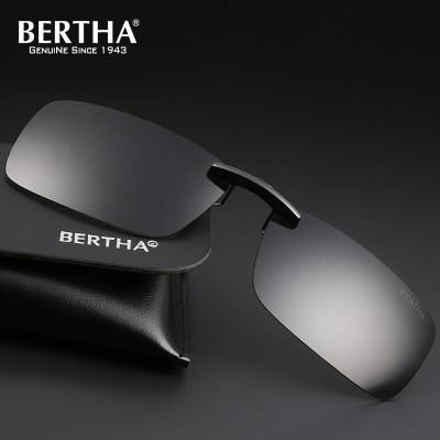 Bertha时尚款偏光墨镜 男士通用舒适驾驶无框眼镜近视专用太阳镜夹片 PC镜片