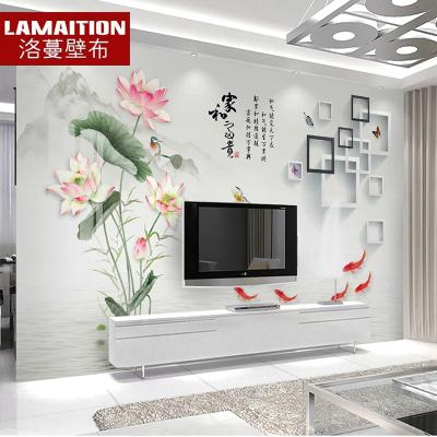 洛蔓 電視背景墻壁紙墻紙墻布 中式九魚荷花方格客廳整張定制3D立體無縫整張壁畫 家和富貴