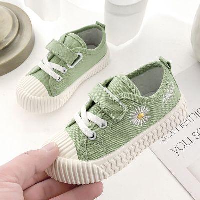 實心軟底春夏低幫兒童帆布鞋男女童布鞋寶寶學步鞋小雛菊小孩鞋子 臻澀