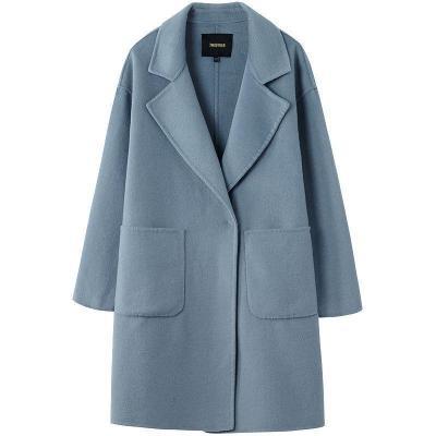 【新品】韩版高腰纯色双面呢女冬季长袖中长款西装领毛呢大衣70011069