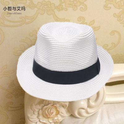 抹炫(MOXUAN)亲子帽儿童帽子透气男女童沙滩遮太阳帽宝宝爵士礼帽遮阳帽