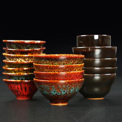 單杯 窯變陶瓷 斗笠品茶碗 七彩沙金主人杯 創意禮品 茶杯建盞-沙金平口16