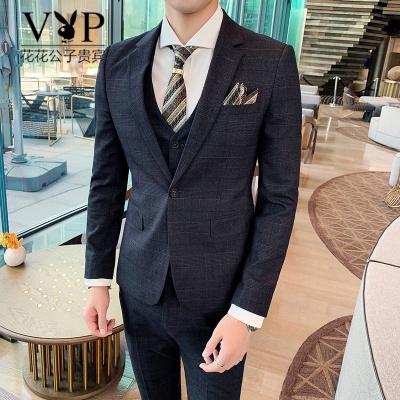 花花公子貴賓新郎西服套裝男士三件套修身韓版結婚禮服商務正裝英倫格子西裝男