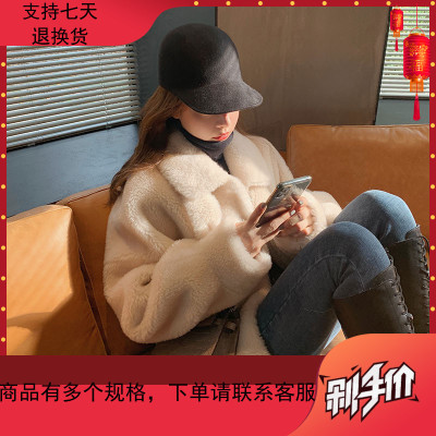 錢夫人羊羔毛皮草女秋冬2019新款韓版寬松翻領短款外套