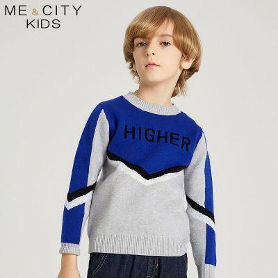 【2件2.5折價:87.3】米喜迪mecity童裝冬款男童長袖V型拼接字母提花套頭毛衣