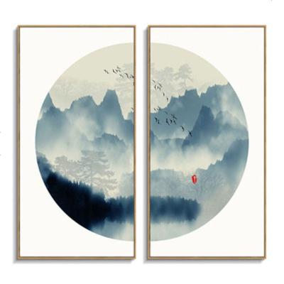 新中式掛畫禪意背景墻畫水墨山水意境豎版餐廳玄關壁畫客廳裝飾畫 01【一套兩幅】 60*120【原木框】