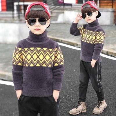 童装男童毛衣套头秋冬款儿童中大童运动加厚洋气男孩潮