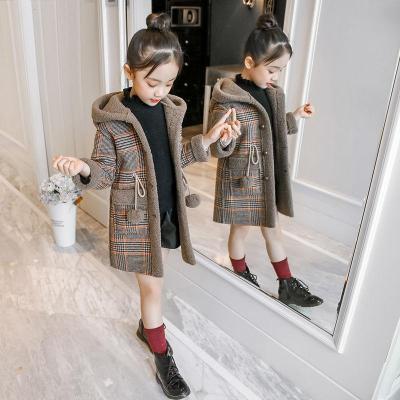度度兔(Dudutu)秋裝女童加絨呢大衣中大童冬季韓版呢子風衣外套