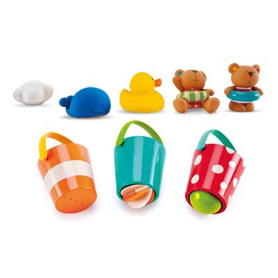 Hape泰迪玩偶水漏桶8件套1-6歲泰迪戲水玩偶花式水漏桶組合套浴室洗澡玩具戲水套裝男孩女孩