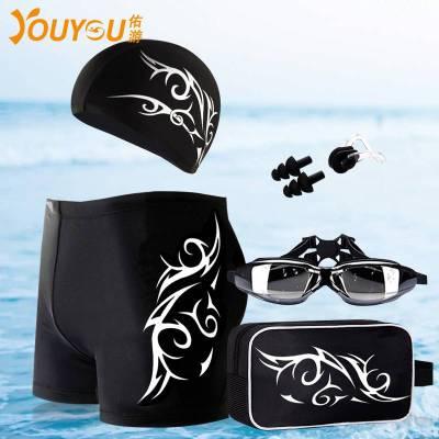 新款男士泳褲泳帽平角溫泉大碼寬松游泳褲泳鏡五件套裝備