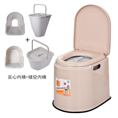老人孕婦室內可移動坐便器CIAA老年病人便捷式馬桶成人方便家用座便椅 舒適款加厚卡其兩用