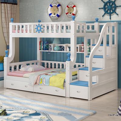 禧漫屋旗艦店 全實木床地中海上下床子母床多功能雙層床 高低床松木床上下鋪兩層兒童床組裝男女童木質床